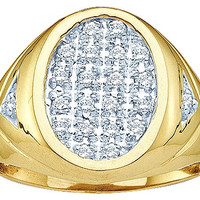 Diamond Cluster Men Ring in 10k Gold 0.25 ctw