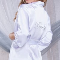 White Satin Robe with Rhinestone Bride