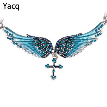 YACQ Angel Wing Cross Choker Necklace Guardian Women Biker Crystal Jewelry Gifts Her