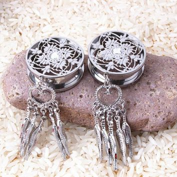 Silver Color Stainless Steel Dream Catcher Dangle Screw Ear Plug Gauge Tunnel Ear Expander Piercing Body Jewelry 4 Size
