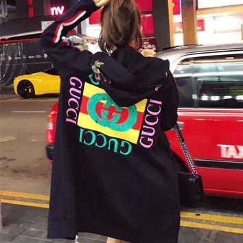 ESBONV Gucci' Women Flower Embroidery Letter Pattern Print Hooded Long Sleeve Zip Cardigan Sweater Medium Long Section Coat H-AGG-CZDL