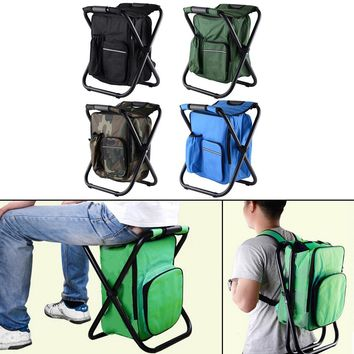 Multifunctional Fishing Chair Camping Chair 3 In 1 Outdoor Portable Foldable Cooler Bag Chair Backpack Fishing Stool Chair