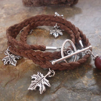 BRAIDED & MAPLE brown wrap bracelet and palm seed by AsaiBolivien 9,90 US$