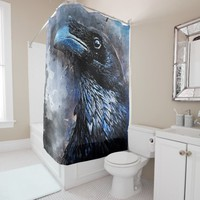 Crow art #crow #bird #animals shower curtain