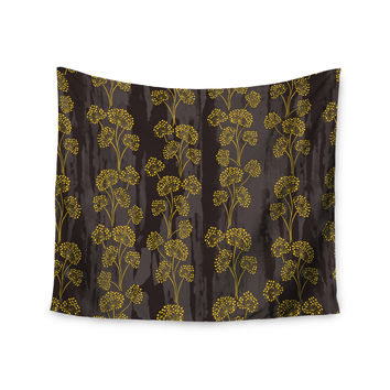 "Neelam Kaur ""Textured Floral Elegance"" Brown Yellow Wall Tapestry"