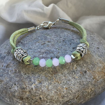 "Frost Pink, Mint Green Glass Beads Genuine Green Suede Leather Bracelet ""Strawberry and Mint"""