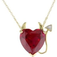 """14k Yellow Gold Created Ruby Heart Devil Pendant Necklace with Diamond Accent, 18"""""""