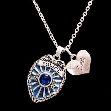 Blue Police Shield Badge Dad Heart Gift For Officer LEO Charm Necklace