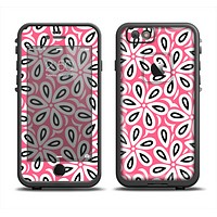 The Pink and Black Vector Floral Pattern Apple iPhone 6 LifeProof Fre Case Skin Set