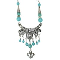 NR137 Exaggerated Gypsy Long Tibetan Silver Color vintage Howlite Stone Pendant necklace chain Costume jewelry