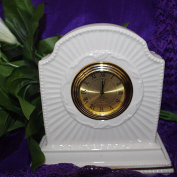Exquisite Vintage Porcelain Lenox Ivory Mantle Clock Not Working Needs Repair Great for Parts or Restoration