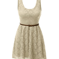 LE3NO Womens Sleeveless Lace Crochet Flared Dress with Belt (CLEARANCE)