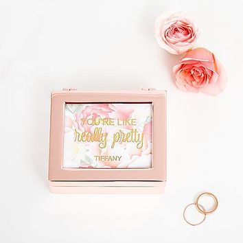 Small Modern Personalized Jewelry Box - Modern Floral Print Rose Gold (Pack of 1)