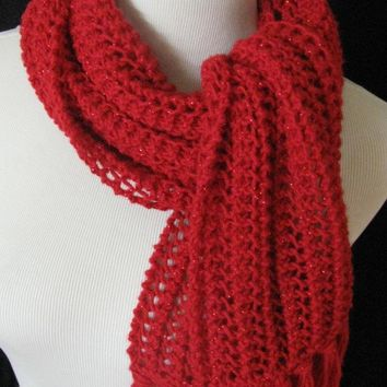 Hand Knit Scarf Red Glitter Lacy Scarf