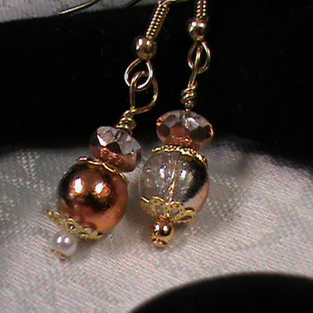 Clear crackle round copper faceted glass bead dangle drop earrings