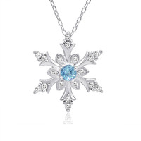 Swiss Blue and White Topaz Snowflake Pendant-Necklace in Sterling Silver