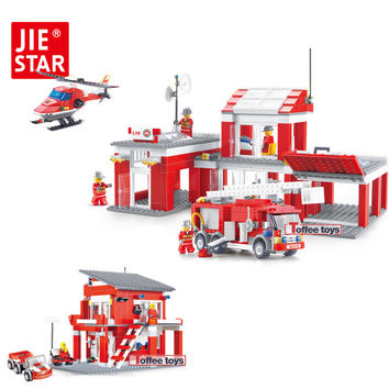 JIE-STAR Fire Rescue Series Building Blocks Small Particles Model Building Blocks Toys for Children Boys Educational Toys 22023