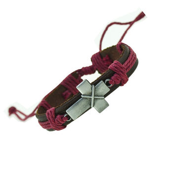 Cross Charm Leather Bracelet (Maroon)
