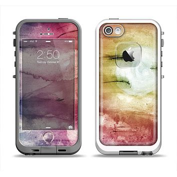 The Pink-Yellow-Blue Grunge Painted Surface Apple iPhone 5-5s LifeProof Fre Case Skin Set