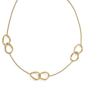 14k Yellow Gold Satin Finish Double Link Station Necklace, 17-18 Inch
