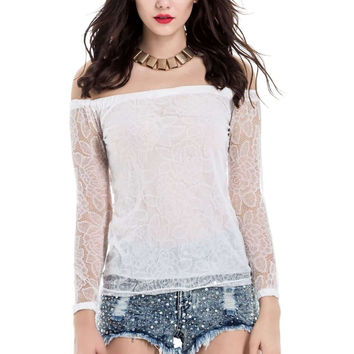 White Off-Shoulder Sheer Lace Sleeve Blouse