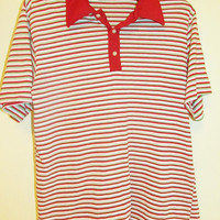 Men's Vintage Retro Striped Short Sleeve Polo Sz M/L