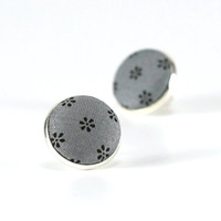 Gray Stud Earrings - Flowers Earring Studs - Grey Floral Fabric Buttons - Classic Jewelry - Grey Country Earring Posts, Elegant Earrings