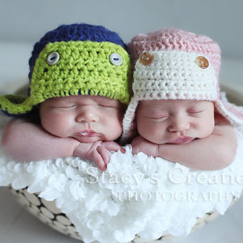 Aviator Hat Crochet Baby Hat Bomber Hat Photo by Monarchdancer