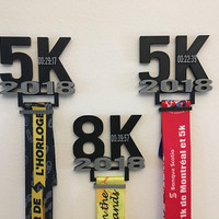 Personalized Simple Medal Holder 3D printed, 5k, 8k, 10k, 21k, 42k, for sport medal with clip.