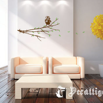 Wall Decal - Branch with Blowing Leaves & Baby Owl - Cute Nature Scene for Modern Decor [026]