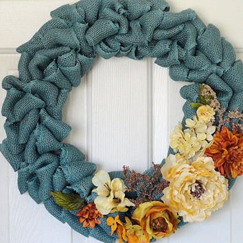 Burlap Wreath, Wreath, Floral Wreath, Blue Burlap, Blue Floral Wreath, Fall Wreath, Year Round Wreath, Door Decor, Door Wreath, Wreaths