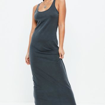Missguided - Dark Grey Acid Wash Maxi Dress