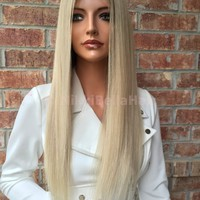 "Light Ash blonde Multi Parting Human Hair Lace Front wig 20"" Silk straight"