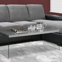 Glossy Grey Hollow-Core/Tempered Glass Cocktail Table