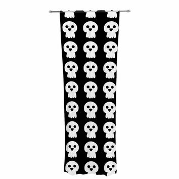 "bruxamagica ""Cute Halloween Skull"" Black White Illustration Holiday Pattern Decorative Sheer Curtain"