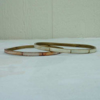 Pair Slim Brass MOP Bangle Bracelets White Pink Vintage Jewelry