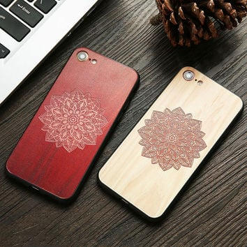 Wood Case For iphone 7 7 6 6s Plus Cover Retro 3D Embossed Flower Paisley Mandala Henna Wooden Phone Cases Shell TPU + PC Fundas