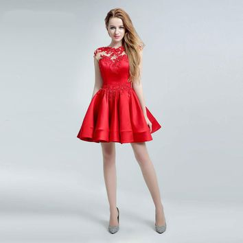 Red Short Homecoming Dresses New O-Neck  Applique Illusion See Through Back Crystal Prom Gowns