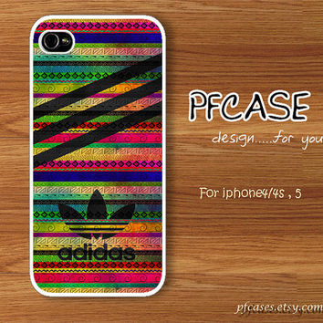 Black Adidas with Nike aztec color pattern : Handmade Case for Iphone 4/4s , Iphone 5 Case Iphone