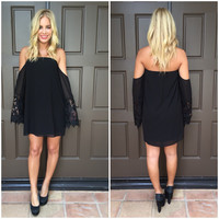 Off Shoulder Love Affair Crochet Dress - BLACK