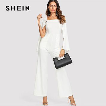 SHEIN White Elegant Cloak Long Sleeve Wide Leg Square Neck Pocket Solid Maxi Jumpsuit Summer Women Weekend Casual Jumpsuit