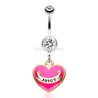 Silver Juicy Heart Belly Button Ring (Fuchsia)
