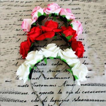 CREY78W Sweet Women Girls Rose Flower Garland Hair Head Band Crown For Bride Flower New SL34