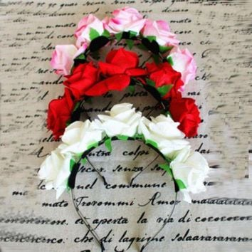 ESBON Sweet Women Girls Rose Flower Garland Hair Head Band Crown For Bride Flower New SL34
