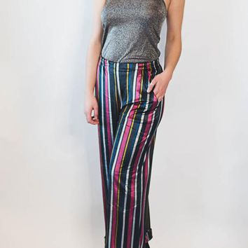 Velvet Stripe Pant - Black Stripe