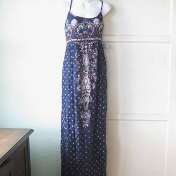 Unworn/NOS '90s Cobalt Print Maxi Dress; Women's Medium Mandala Print Hippie Sundress by Angie; Boho Tie-back; U.S. Shipping Included