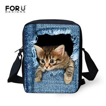 Cute Cat Dog Schoolbag for Kids Small Children Animal Book Bag Kawaii Women Girls Denim School Bag Mochila Escolar infantil