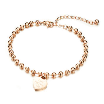 Concise and delicate love heart peach heart hand foot chain Furnace rose gold plated titanium steel