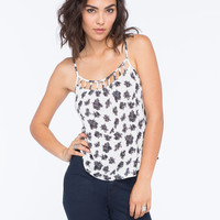 Chloe K Ditsy Print Cage Front Womens Cami White/Black  In Sizes