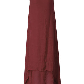 Vintage Sleeveless Pure Color Long Maxi Dress For Women